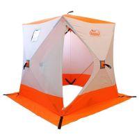 Палатка зимняя куб СЛЕДОПЫТ 1,5 х1,5 м, Oxford 210D PU 1000, 2-местная, цв. бело-оранж.